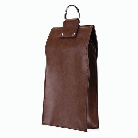 Viski Admiral Faux Leather Double Bottle Brown Wine Tote | James Anthony Collection