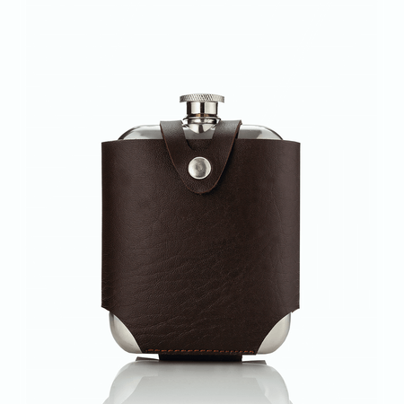 Viski Admiral Stainless Steel Flask and Traveling Case | James Anthony Collection