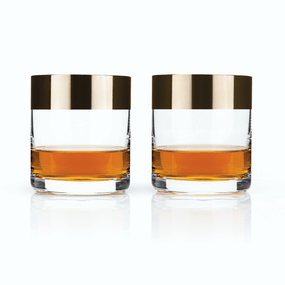 Viski Admiral Bronze Rim Crystal Whisky Tumbler Set | James Anthony Collection