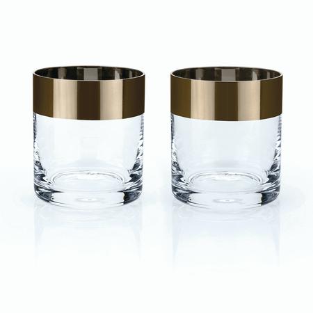 Viski Admiral Bronze Rim Crystal Whisky Tumbler Set | James Anthony Collection