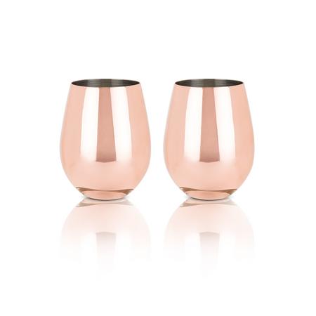 Viski Summit Copper Stemless Wine Glasses | James Anthony Collection