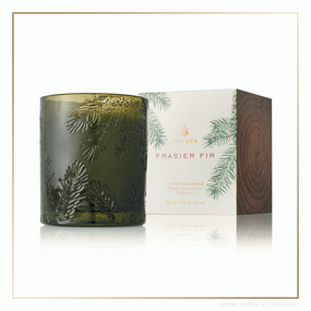 Thymes Frasier Fir Pine Needle Relief Green Glass Candle | James Anthony Collection