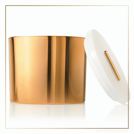 Thymes Frasier Fir Gilded Collection Gold 3-Wick Ceramic Candle - UPC 637666044910 | James Anthony Collection