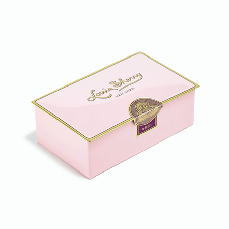 Louis Sherry Chocolates 2-Piece Camellia Pink Tin   James Anthony Collection