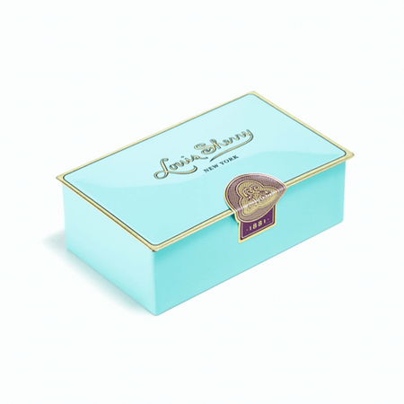 Louis Sherry Chocolates 2-Piece Nile Blue Tin   James Anthony Collection