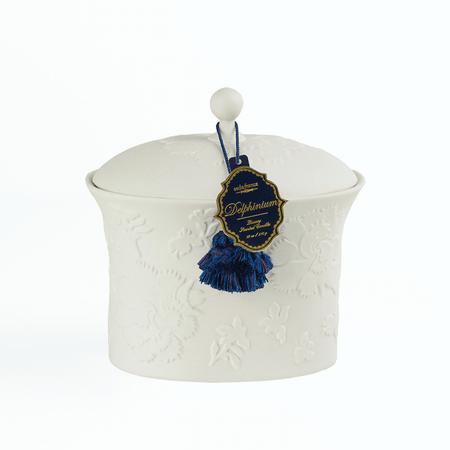 SEDA France Bleu et Blanc Delphinium Two-Wick Ceramic Candle | James Anthony Collection
