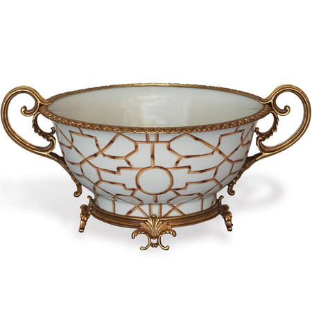 Baldwin White Porcelain Hand Painted Centerpiece Bowl with Solid Brass Ormolu  (ACCS-223-10)   James Anthony Collection