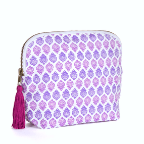 "BRAI Pochette Porto - Imprimé ""Fleurs Indiennes"" - Rose 