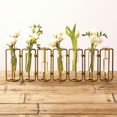 Two's Company Tozai Lavoisier Set of 7 Hinged Flower Vases with Antiqued Gold Finish | James Anthony Collection