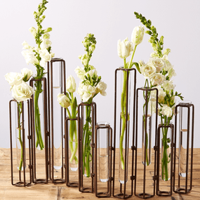 Two's Company Tozai Lavoisier Set of 10 Hinged Flower Vases with Antiqued Rust Finish | James Anthony Collection