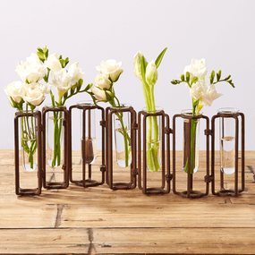 Two's Company Tozai Lavoisier Set of 7 Hinged Flower Vases with Antiqued Rust Finish | James Anthony Collection