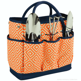 Picnic At Ascot Garden Tote & Tools Set - Diamond Orange | James Anthony Collection