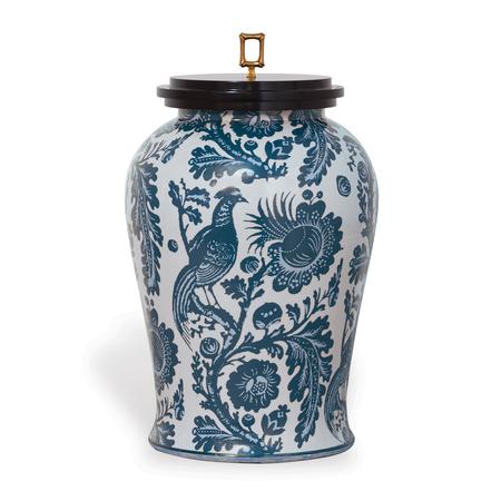 Blue and White Porcelain Scalamandre Arcadia Indigo Jar (ACAS-230-02) | James Anthony Collection