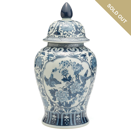 Two's Company Blue and White Hand Painted Porcelain Flora and Fauna Temple Jar I - BLF150-FF | James Anthony Collection