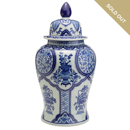Two's Company Blue and White Floral Collage Large Covered Temple Jar | James Anthony Collection