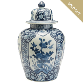 Two's Company Blue and White Hand Painted Porcelain Flora and Fauna Temple Jar  II - BLF152-FF | James Anthony Collection