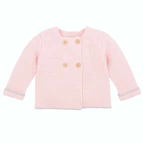 Elegant Baby Sofia & Finn Pink Cardigan w/ Tipping | James Anthony Collection