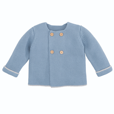 Elegant Baby Sofia & Finn Blue Cardigan w/ Tipping | James Anthony Collection