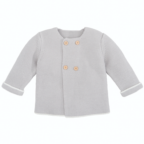 Elegant Baby Sofia & Finn Gray Cardigan w/ Tipping | James Anthony Collection