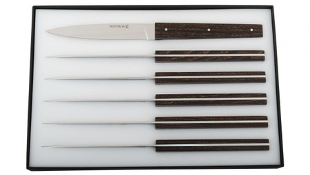 NONTRON Set of 6 Elementaire Steak Knives In Ash Tree
