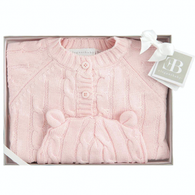 Elegant Baby Cable Knit Sweater and Hat Boxed Set - Pink | James Anthony Collection