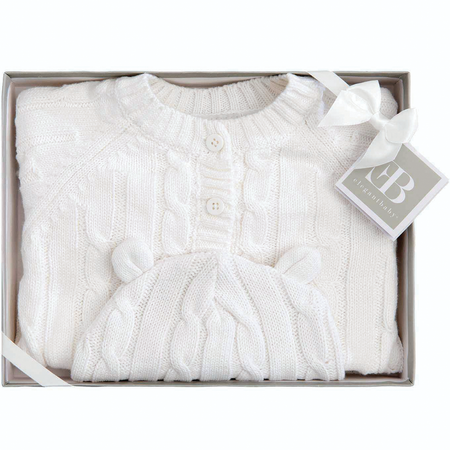 Elegant Baby Cable Knit Sweater and Hat Boxed Set - White | James Anthony Collection