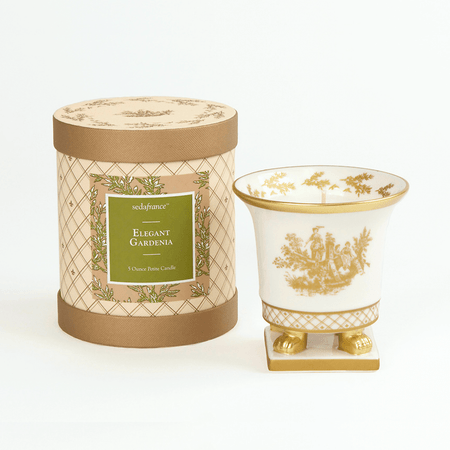 SEDA France Elegant Gardenia Classic Toile Petite Ceramic Candle (sf-00130gar) | James Anthony Collection