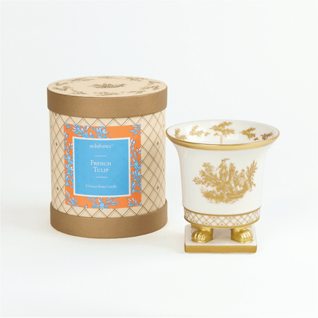 SEDA France French Tulip Classic Toile Petite Ceramic Candle (sf-00130ftu) | James Anthony Collection