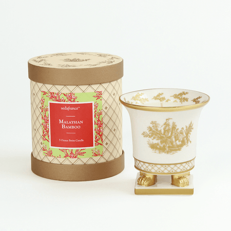 SEDA France Malaysian Bamboo Classic Toile Petite Ceramic Candle | James Anthony Collection