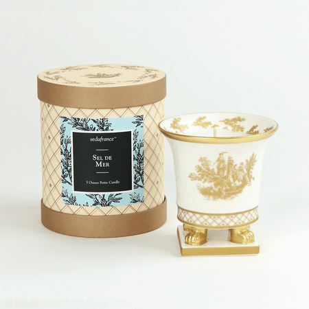 SEDA France Sel de Mer Classic Toile Petite Ceramic Candle   James Anthony Collection