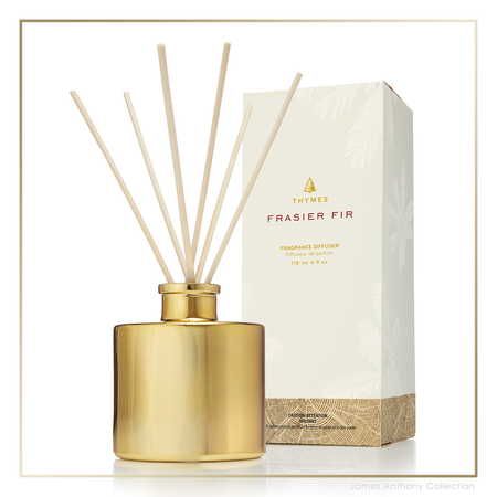 Thymes Frasier Fir Petite Gold Reed Diffuser | James Anthony Collection