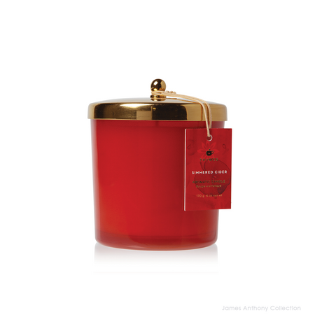 Thymes Simmered Cider Harvest Red Jar Poured Candle with Gold Lid - UPC 637666049809 | James Anthony Collection