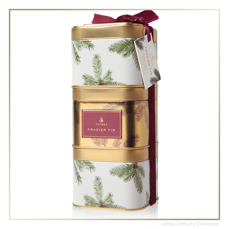 Thymes Frasier Fir Novelty Stackable Gift Tin Trio (tyms-637666049601) | James Anthony Collection