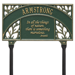 Whitehall Aristotle Quote Personalized Garden & Lawn Plaque - James Anthony Collection