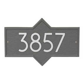 Whitehall Hampton Modern Address Plaque Pewter/Silver - James Anthony Collection