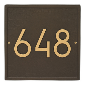 Whitehall Square Modern Address Plaque Aged Bronze - James Anthony Collection