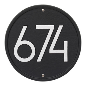 Whitehall Round Modern Address Plaque Black/Silver - James Anthony Collection