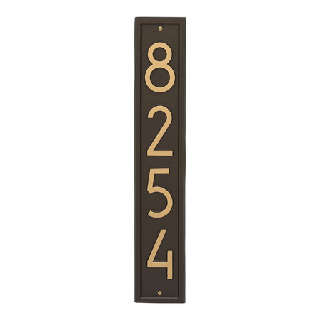 Whitehall Vertical Modern Address Plaque Aged Bronze - James Anthony Collection