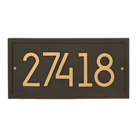 Whitehall Rectangle Modern Address Plaque Aged Bronze - James Anthony Collection