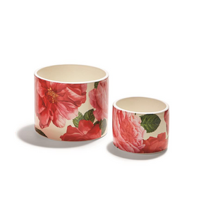 Two's Company Rose Garden Rose Leaf Pattern Cachepots | James Anthony Collection