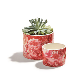 Two's Company Rose Garden Floral Rose Pattern Cachepots