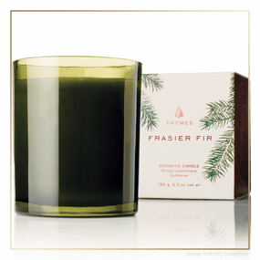 Thymes Frasier Fir Poured Candle Green Glass | James Anthony Collection