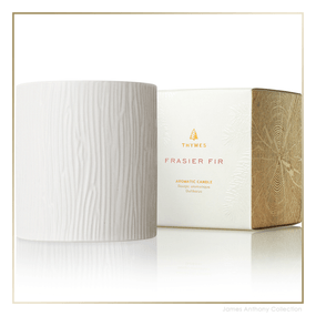 Thymes Frasier Fir Gilded Collection Medium Ceramic Candle | James Anthony Collection