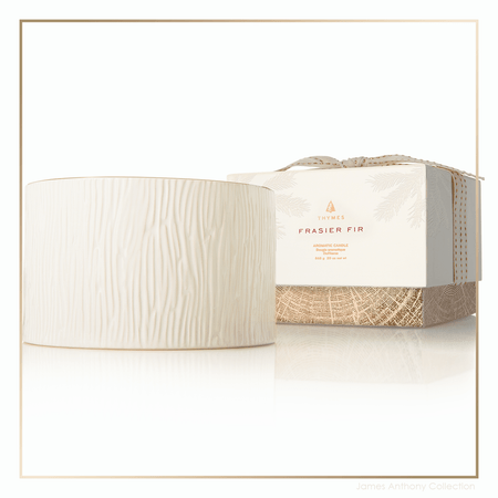 Thymes Frasier Fir Gilded Collection 3-Wick Ceramic Candle | James Anthony Collection