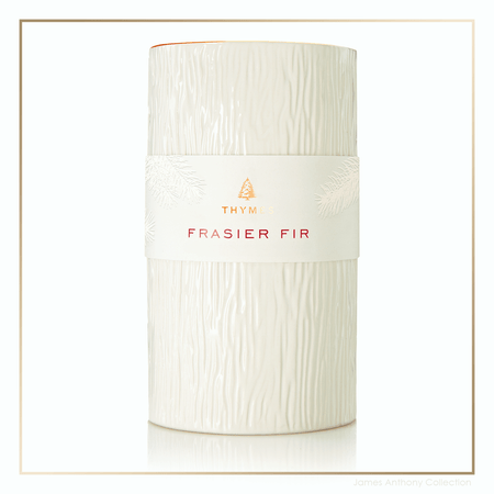 Thymes Frasier Fir Gilded Collection Ceramic Pillar Candle | James Anthony Collection