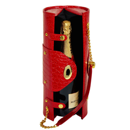 Picnic at Ascot Wine Purse in Faux Red Croc | James Anthony Collection
