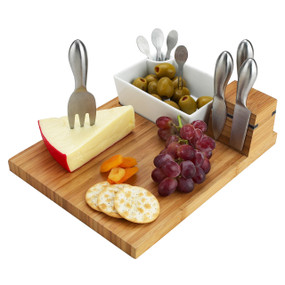 Buxton Bamboo Cheese Board Set with 4 Tools