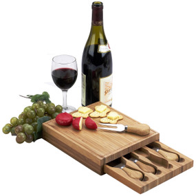 Edam Bamboo Cheese Board Set with 4 Tools