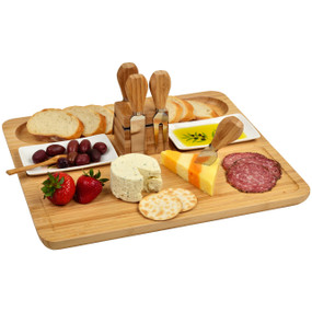 Sherborne Bamboo Cheese Board Set w/Dishes & Tools