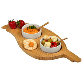Bamboo Leaf Serving Platter with 2 Ceramic Bowls